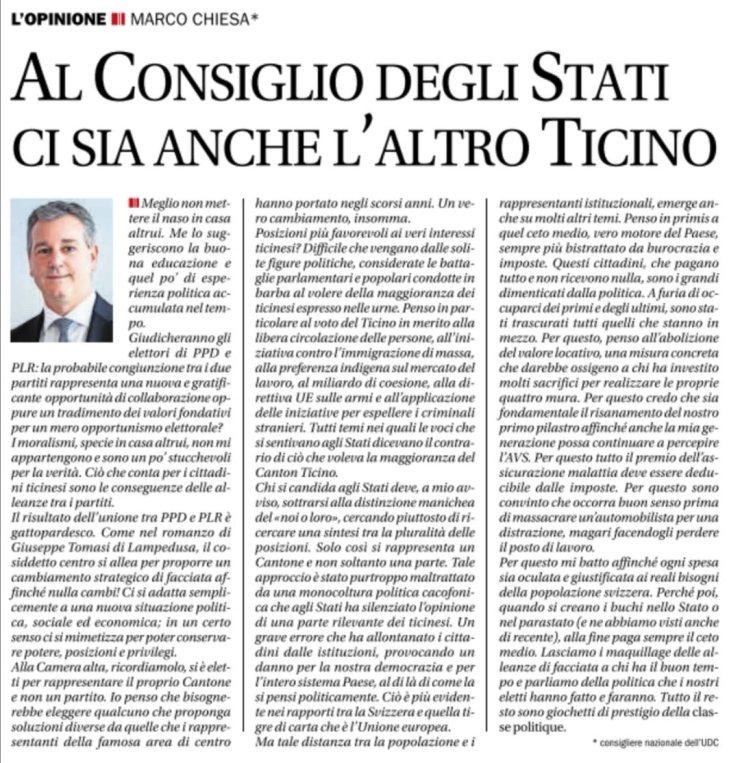 Al Consiglio degli Stati ci sia anche l'altro Ticino